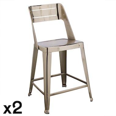 Chaise de bar design chrome (lot de 2) HELSINKI