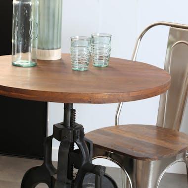 Table réglable en hauteur bois recyclé 77-102 cm LEEDS