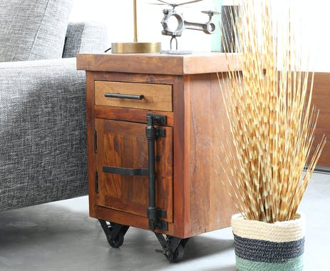 Bout de canapé industriel vintage bois recyclé roues LEEDS
