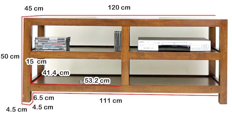 Meuble TV Hévéa 4 niches 120x45x50cm HELENA