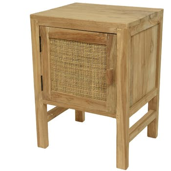 Table de chevet en teck porte cannage