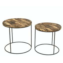 Table gigogne ronde en bois d'acacia recyclé (lot de 2)