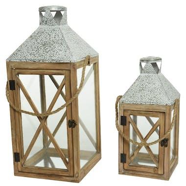 Lanterne en bois toit en zinc gris blanc (lot de 2)
