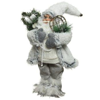 Père Noël figurine en habits blancs et raquettes 30 cm