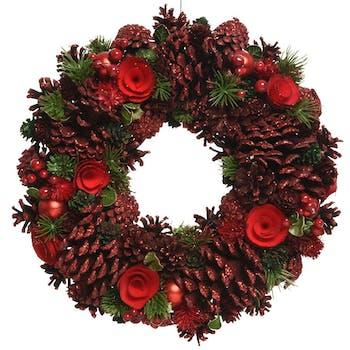 Couronne de Noël nature tons verts et rouges