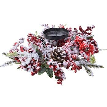 Centre de table bougeoir décor Noël naturel givré