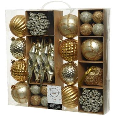 Boite de 50 décors de Noël tons dorés