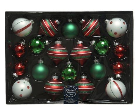 Boite de 20 boules et bulbes de Noël tons verts et rouges