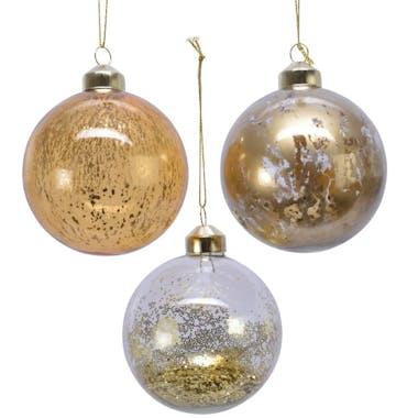 Boite de 3 boules de Noël effets dorés