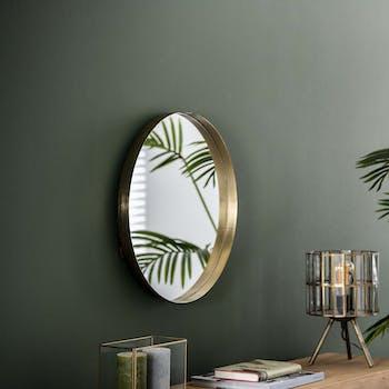 Miroir rond doré D 50 cm NIAGARA