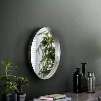 Miroir rond argent vieilli D 50 cm NIAGARA