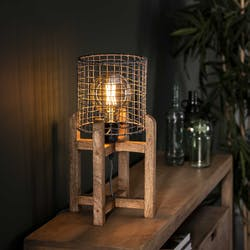 Lampe industrielle grillagée support bois de manguier LUCKNOW