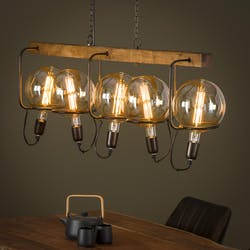 Suspension vintage 5 lampes baladeuses support bois TRIBECA