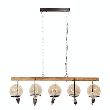 Suspension vintage 5 lampes baladeuses support bois TRIBECA