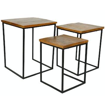 Table gigogne bois de manguier métal (lot de 3)