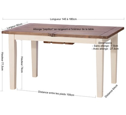 Table à manger extensible bois recyclé 140-180 BRISTOL