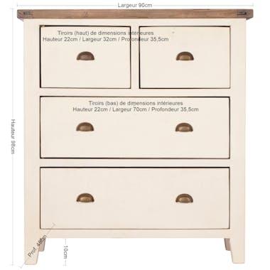 Commode blanche bois recyclé 4 tiroirs BRISTOL