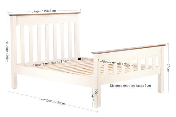 Lit 2 places blanc bois recyclé 180 cm BRISTOL