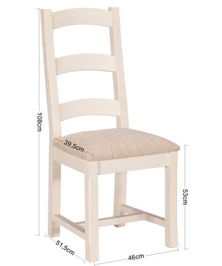 Chaise blanche bois recyclé assise rembourrée BRISTOL (lot de 2)