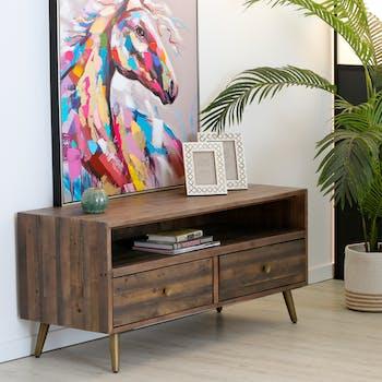 Meuble tv 2 tiroirs bois recyclé piètement effet laiton vieilli ADÉLAÏDE