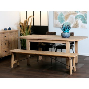Table à manger extensible bois recyclé clair 140-180 SALERNE