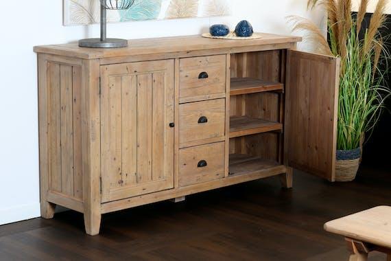 Buffet rustique bois recyclé clair SALERNE