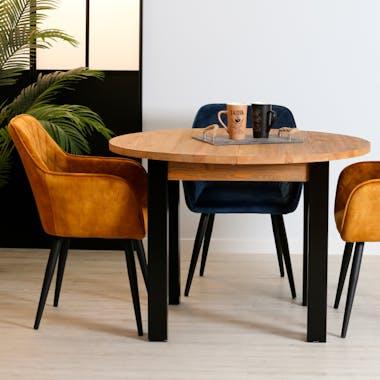 Table à manger ronde bois massif 110-150 LOUNDGE (avec 1 allonge)
