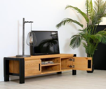 Meuble TV en pin massif 2 portes LOUNDGE