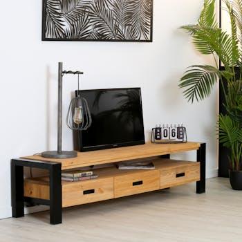 Meuble TV en pin massif 3 tiroirs LOUNDGE