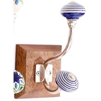 Patère murale crochet double bouton de meuble bleu et blanc modèle 4