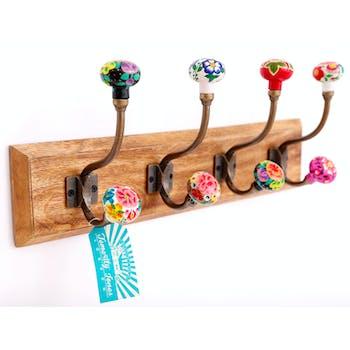 Patère 4 crochets doubles boutons de porte colorés