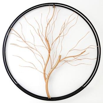 Décoration murale ronde arbre de vie doré