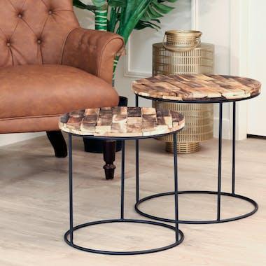 Table gigogne ronde en bois d'acacia recyclé (lot de 2)