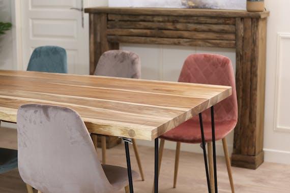Table à manger bois massif naturel 200 cm HAWAI