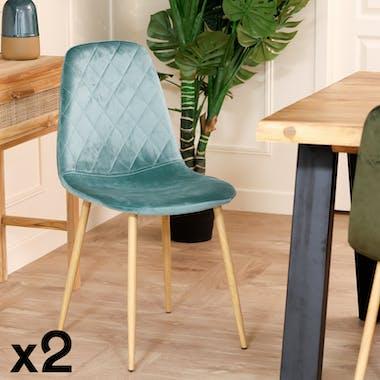 Chaise en velours bleu-vert HAWAI (lot de 2)