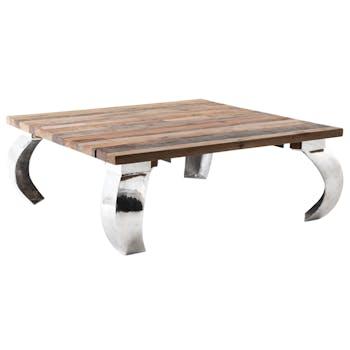 Table basse carrée bois recyclé de bateau fonte d'aluminium AUCKLAND