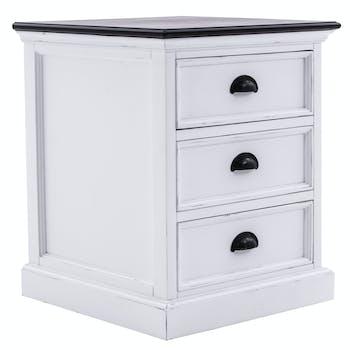 Chevet blanc plateau noir 3 tiroirs ROYAN