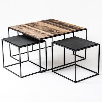Table basse gigogne industrielle vintage (lot de 3) 80 cm CALGARY