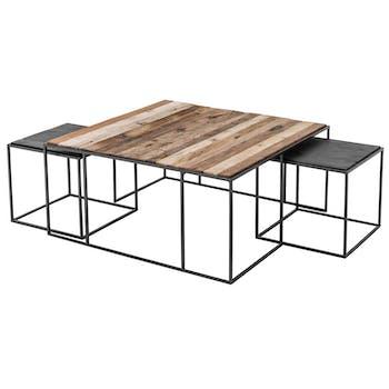 Table basse gigogne industrielle vintage (lot de 3) 100 cm CALGARY