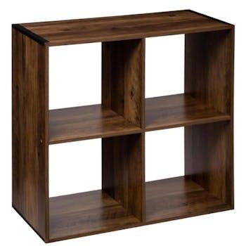 Etagère cube 4 cases coloris bois