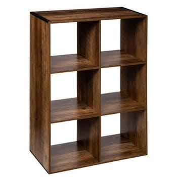 Etagère cube 6 cases coloris bois