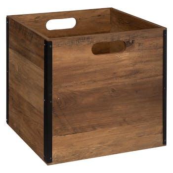 Caisse de rangement coloris bois