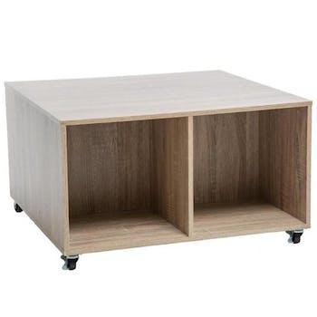 Table basse à roulettes avec rangement coloris bois clair