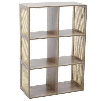Etagère cube 6 cases coloris bois clair et cannage