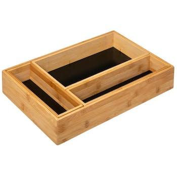 Organisateur 4 compartiments en bambou et noir