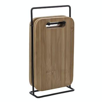 Set de 4 planches en bambou sur support métal