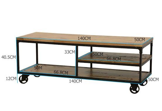 Meuble TV à roulettes double plateaux et étagére intermédiaire en Hévéa recyclé naturel et métal 140x50x52cm LOFT