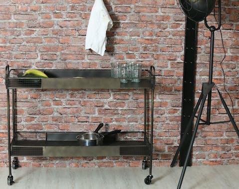 Desserte à roulettes en métal noir 102x41x80cm
