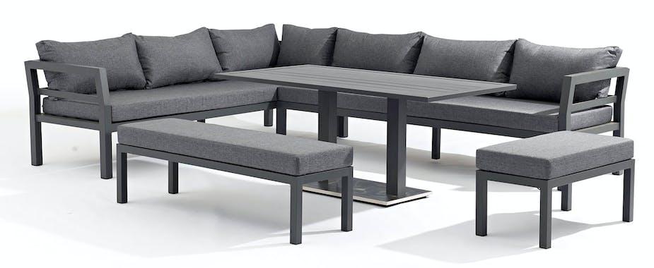 Salon de Jardin FLORIDA 5 pièces en aluminium gris anthracite et coussins tissu gris clair