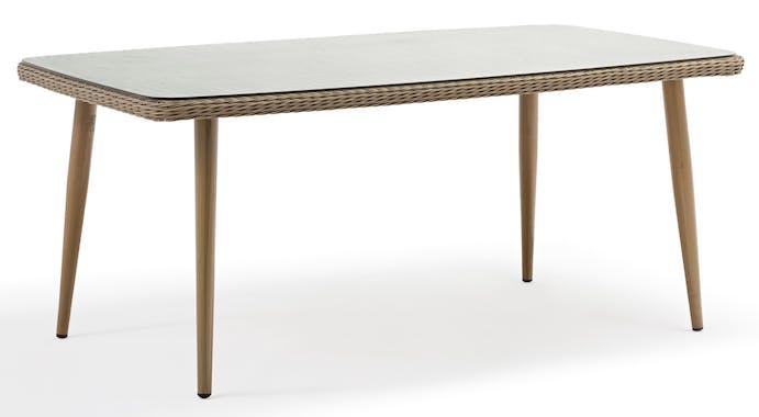 Table de Jardin CUBA 180cm en résine tressée couleur sable et plateau verre